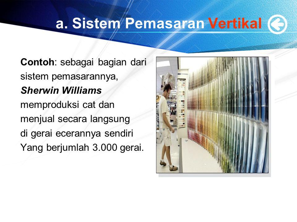 a. Sistem Pemasaran Vertikal Contoh: sebagai bagian dari sistem pemasarannya, Sherwin Williams memproduksi cat dan menjual secara langsung di gerai ec