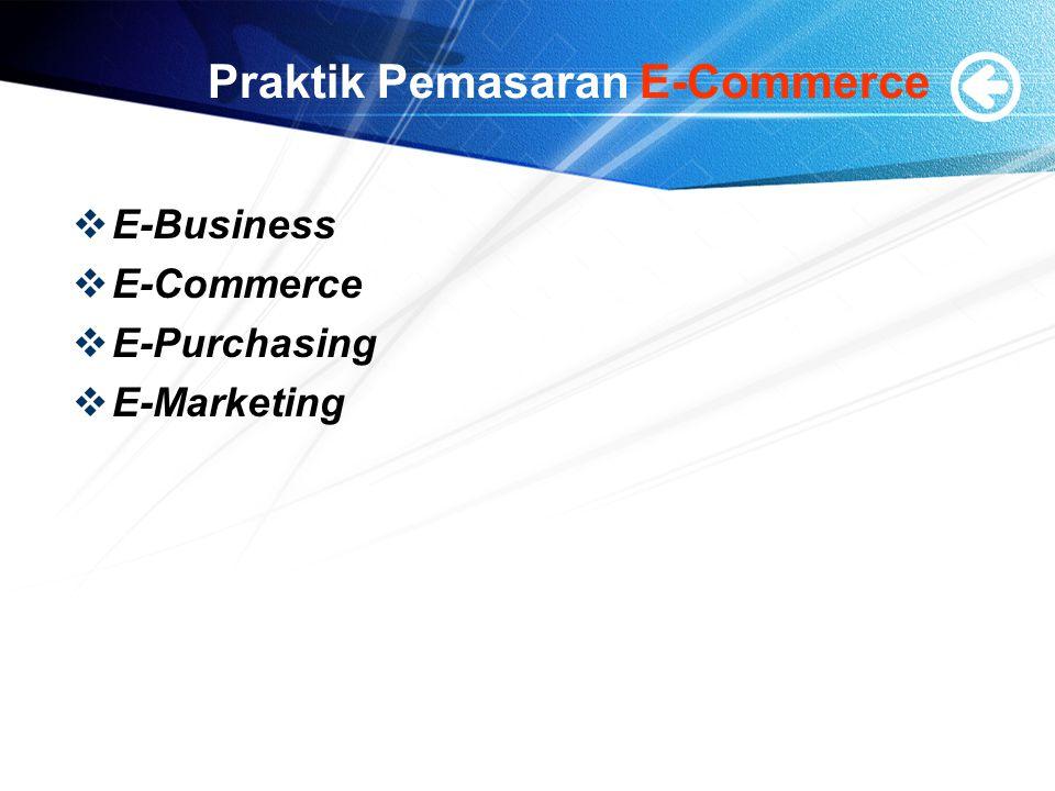 Praktik Pemasaran E-Commerce  E-Business  E-Commerce  E-Purchasing  E-Marketing
