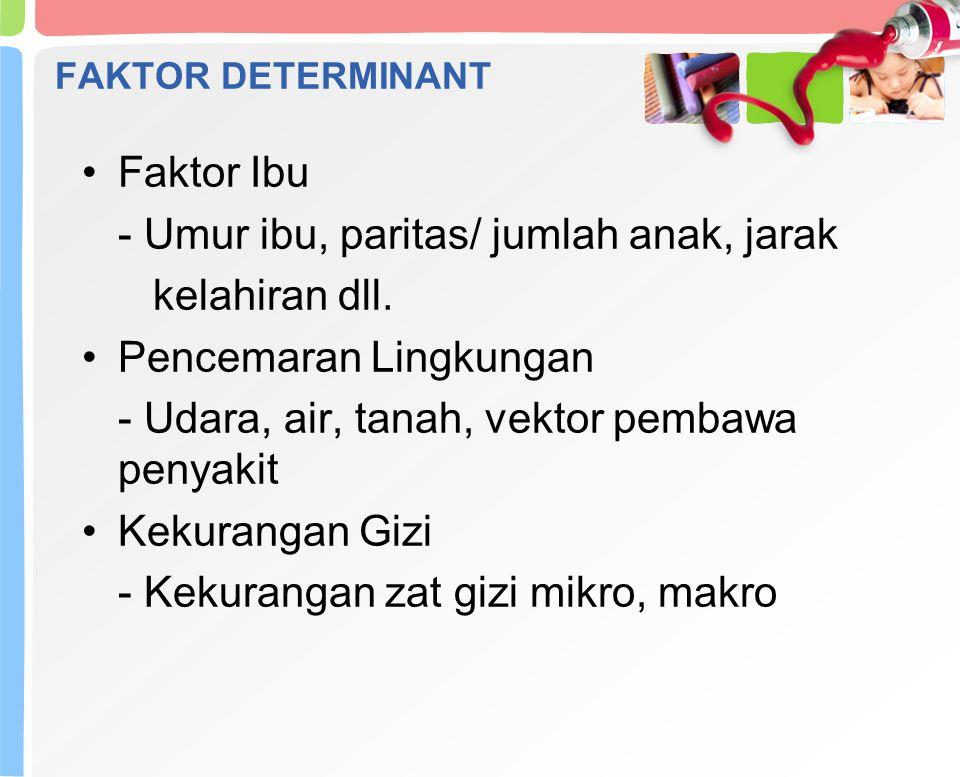 FAKTOR DETERMINANT Faktor Ibu - Umur ibu, paritas/ jumlah anak, jarak kelahiran dll.