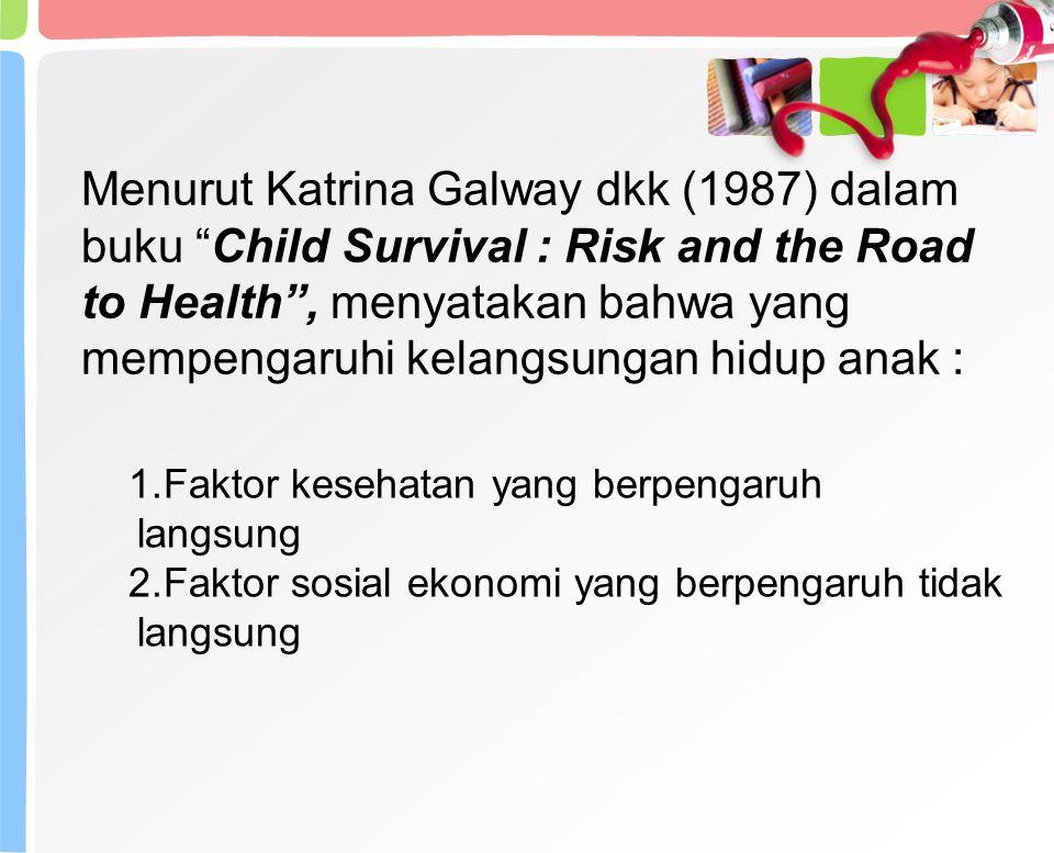 Menurut Katrina Galway dkk (1987) dalam buku Child Survival : Risk and the Road to Health , menyatakan bahwa yang mempengaruhi kelangsungan hidup anak : 1.Faktor kesehatan yang berpengaruh langsung 2.Faktor sosial ekonomi yang berpengaruh tidak langsung
