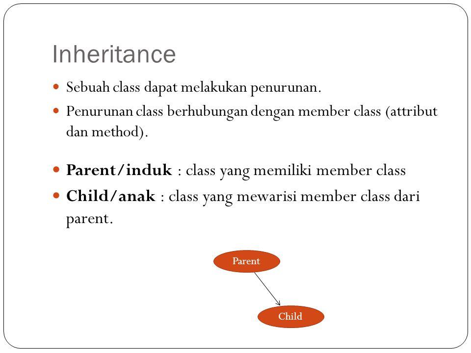 Sebuah class dapat melakukan penurunan. Penurunan class berhubungan dengan member class (attribut dan method). Parent/induk : class yang memiliki memb