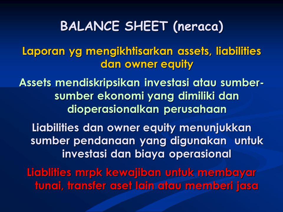 BALANCE SHEET (neraca) Laporan yg mengikhtisarkan assets, liabilities dan owner equity Assets mendiskripsikan investasi atau sumber- sumber ekonomi yang dimiliki dan dioperasionalkan perusahaan Liabilities dan owner equity menunjukkan sumber pendanaan yang digunakan untuk investasi dan biaya operasional Liablities mrpk kewajiban untuk membayar tunai, transfer aset lain atau memberi jasa