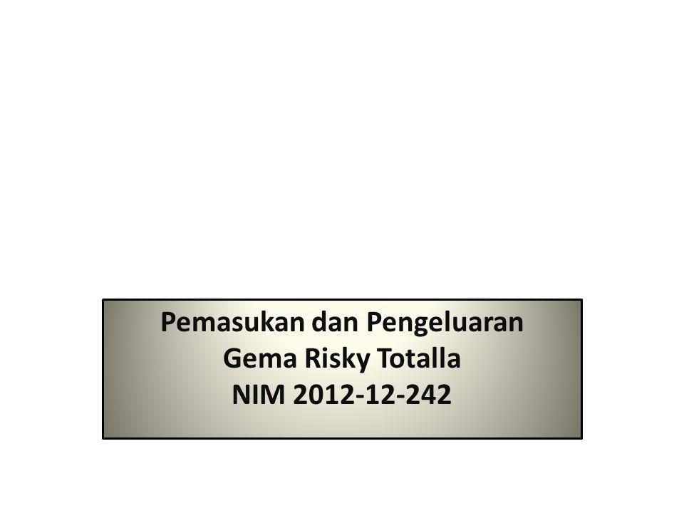 Pemasukan dan Pengeluaran Gema Risky Totalla NIM 2012-12-242