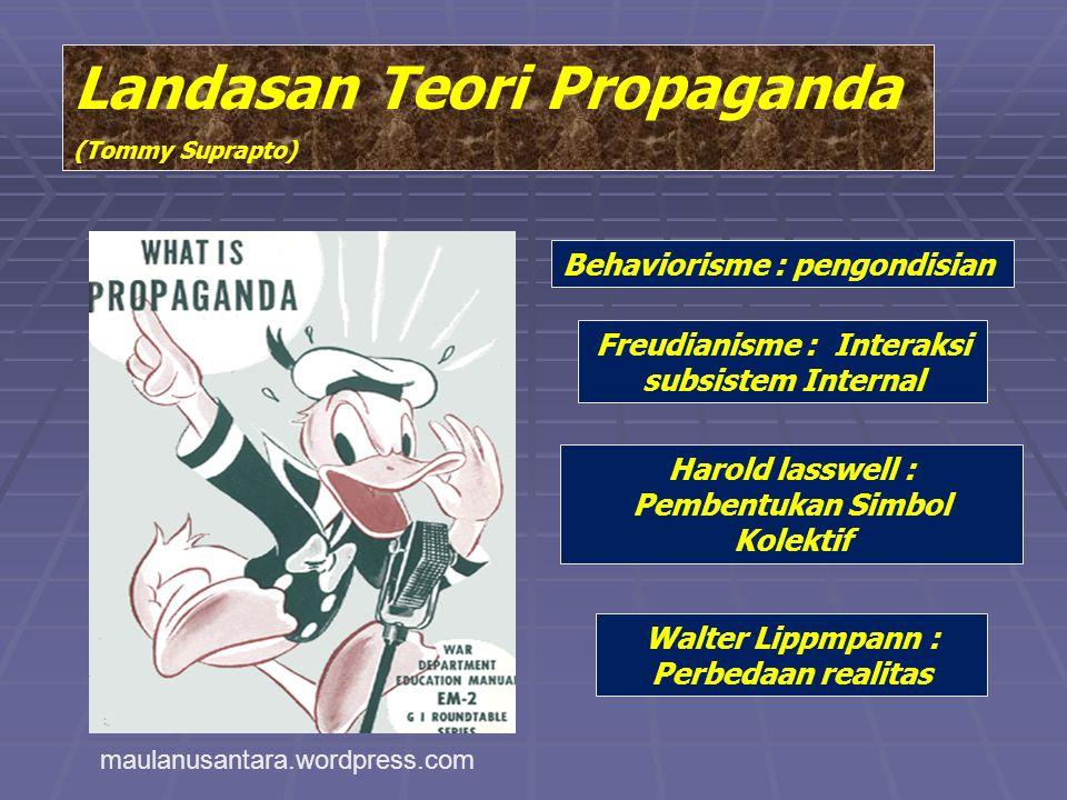 Landasan Teori Propaganda (Tommy Suprapto) Behaviorisme : pengondisian Freudianisme : Interaksi subsistem Internal Harold lasswell : Pembentukan Simbo