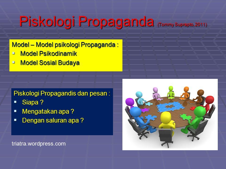 Piskologi Propaganda (Tommy Suprapto, 2011) Model – Model psikologi Propaganda :  Model Psikodinamik  Model Sosial Budaya Piskologi Propagandis dan