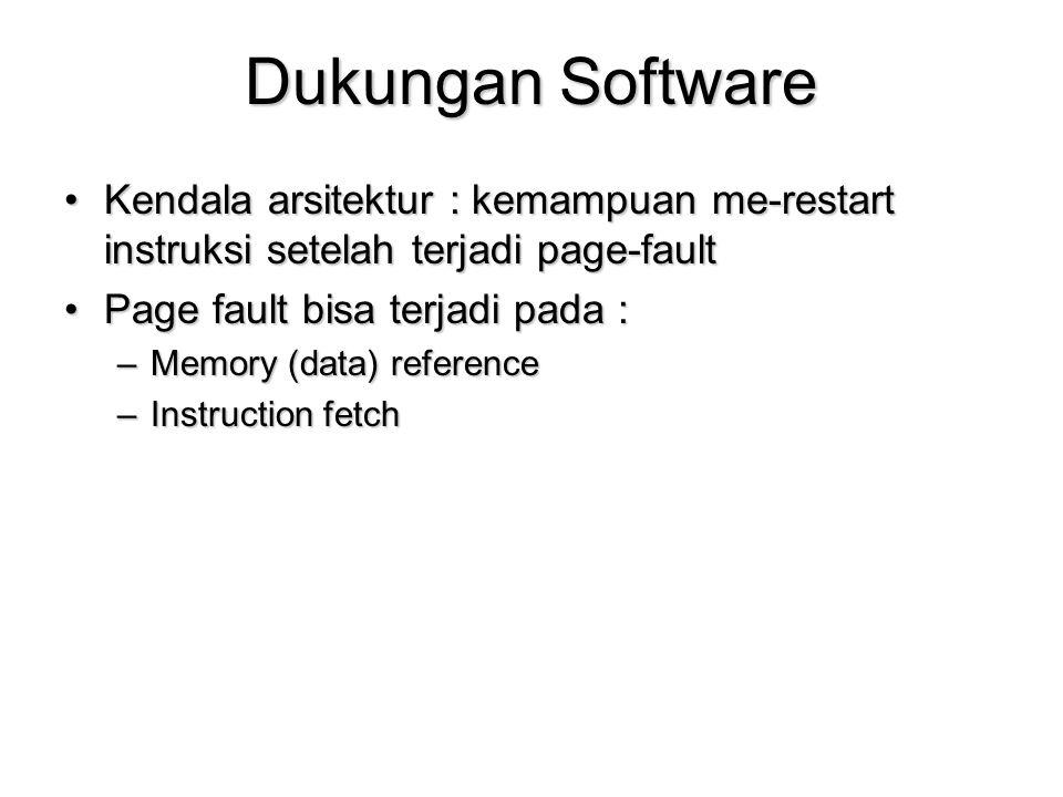 Dukungan Software Kendala arsitektur : kemampuan me-restart instruksi setelah terjadi page-faultKendala arsitektur : kemampuan me-restart instruksi setelah terjadi page-fault Page fault bisa terjadi pada :Page fault bisa terjadi pada : –Memory (data) reference –Instruction fetch