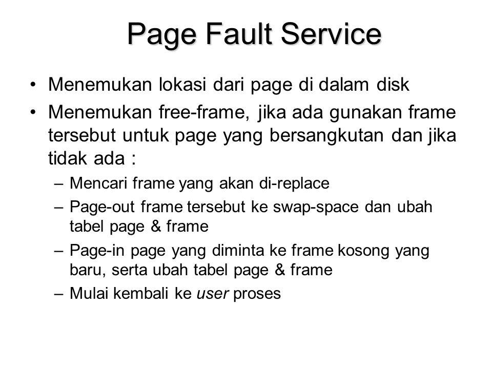 Page Fault Service Menemukan lokasi dari page di dalam disk Menemukan free-frame, jika ada gunakan frame tersebut untuk page yang bersangkutan dan jika tidak ada : –Mencari frame yang akan di-replace –Page-out frame tersebut ke swap-space dan ubah tabel page & frame –Page-in page yang diminta ke frame kosong yang baru, serta ubah tabel page & frame –Mulai kembali ke user proses