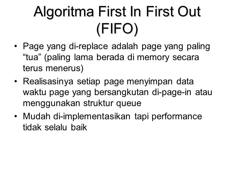 Algoritma First In First Out (FIFO) Page yang di-replace adalah page yang paling tua (paling lama berada di memory secara terus menerus) Realisasinya setiap page menyimpan data waktu page yang bersangkutan di-page-in atau menggunakan struktur queue Mudah di-implementasikan tapi performance tidak selalu baik