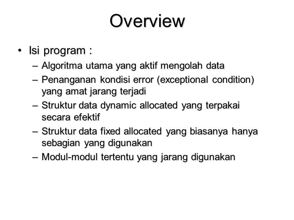 Overview Isi program :Isi program : –Algoritma utama yang aktif mengolah data –Penanganan kondisi error (exceptional condition) yang amat jarang terjadi –Struktur data dynamic allocated yang terpakai secara efektif –Struktur data fixed allocated yang biasanya hanya sebagian yang digunakan –Modul-modul tertentu yang jarang digunakan