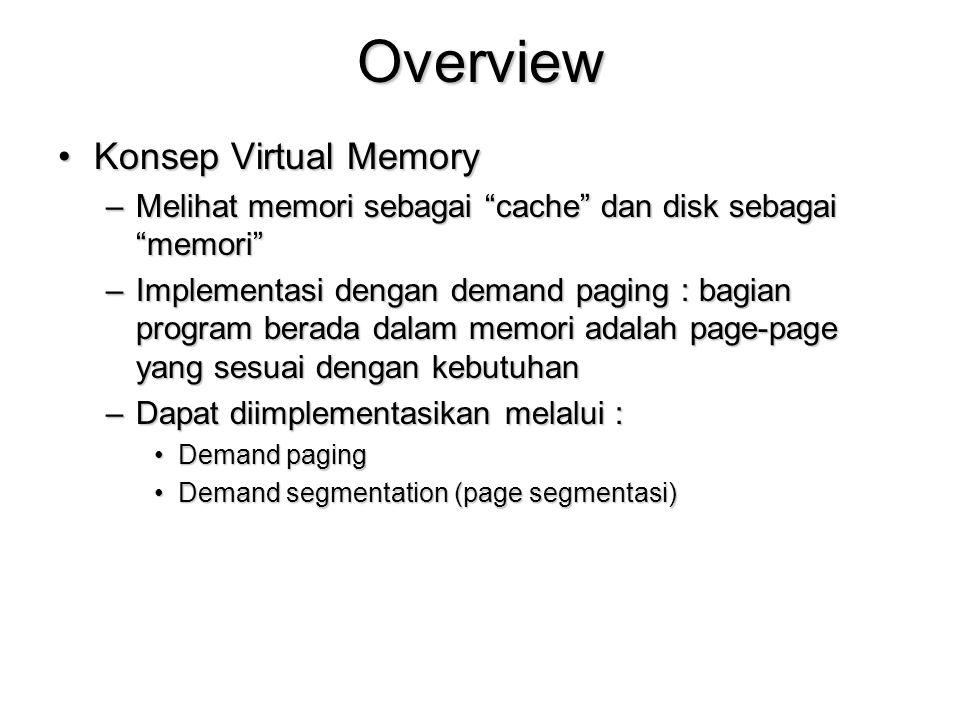 Overview Konsep Virtual MemoryKonsep Virtual Memory –Melihat memori sebagai cache dan disk sebagai memori –Implementasi dengan demand paging : bagian program berada dalam memori adalah page-page yang sesuai dengan kebutuhan –Dapat diimplementasikan melalui : Demand pagingDemand paging Demand segmentation (page segmentasi)Demand segmentation (page segmentasi)