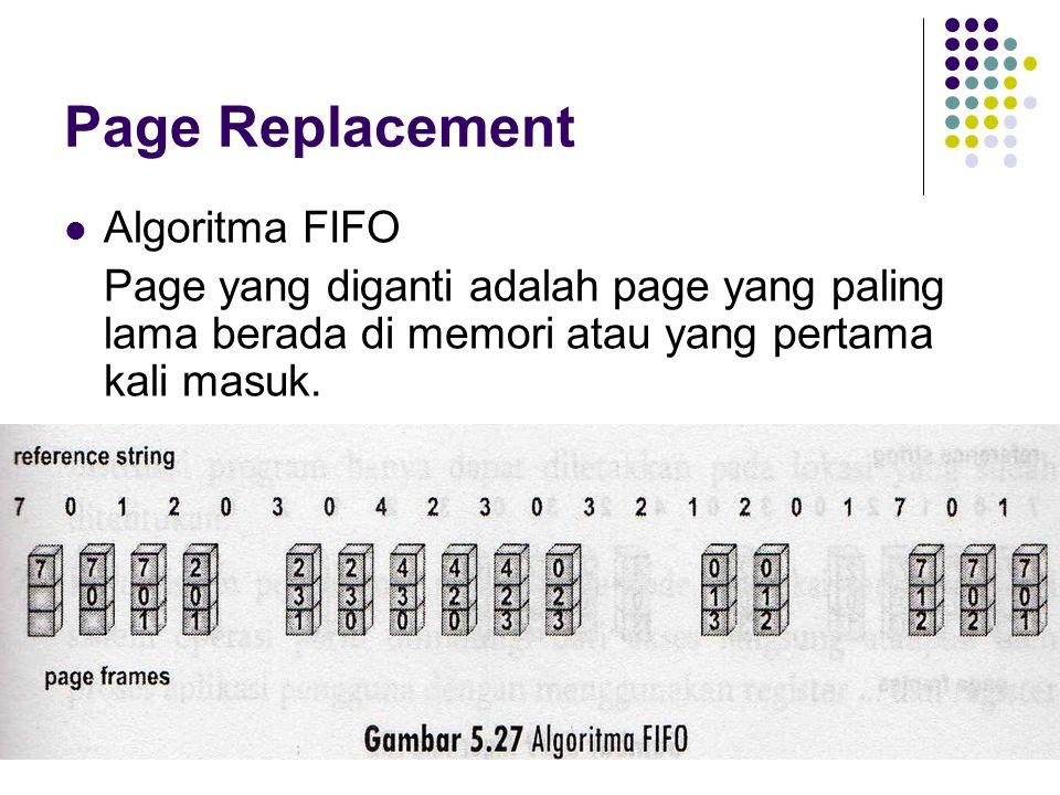 Page Replacement Algoritma FIFO Page yang diganti adalah page yang paling lama berada di memori atau yang pertama kali masuk.