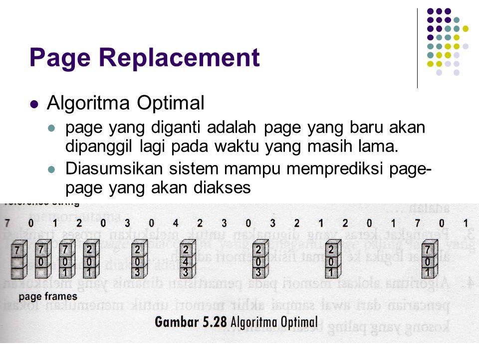 Page Replacement Algoritma Optimal page yang diganti adalah page yang baru akan dipanggil lagi pada waktu yang masih lama. Diasumsikan sistem mampu me
