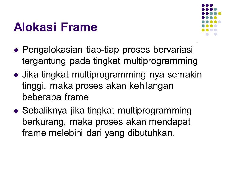 Alokasi Frame Pengalokasian tiap-tiap proses bervariasi tergantung pada tingkat multiprogramming Jika tingkat multiprogramming nya semakin tinggi, mak