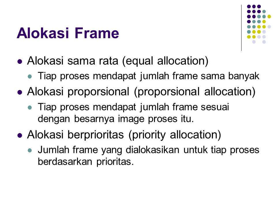Alokasi Frame Alokasi sama rata (equal allocation) Tiap proses mendapat jumlah frame sama banyak Alokasi proporsional (proporsional allocation) Tiap p
