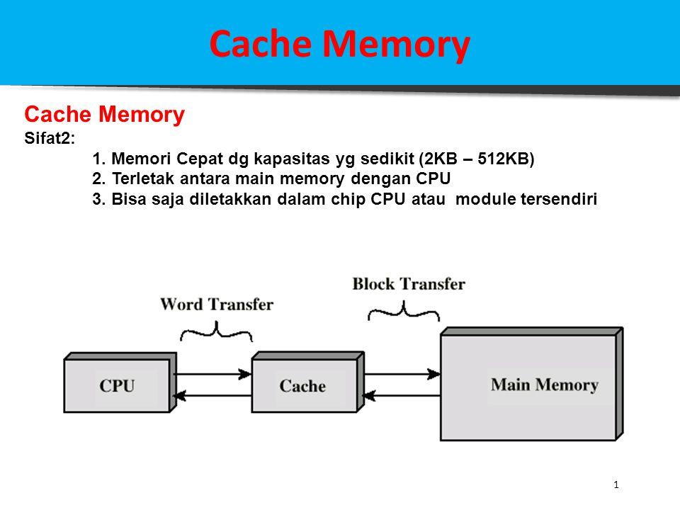 Cache Memory 1 Sifat2: 1. Memori Cepat dg kapasitas yg sedikit (2KB – 512KB) 2. Terletak antara main memory dengan CPU 3. Bisa saja diletakkan dalam c
