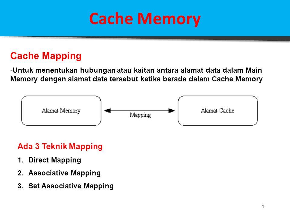 15 Cache Memory Studi Kasus : Set Associative Mapping Jika diketahui sebuah sistem komputer dengan Main Memory = 16 MB, dilengkapi dengan Cache = 64 kB, 1 Block Data = 4 byte Ditanyakan: Struktur Address Set Associative Mapping Solusi: 16 MB memory memiliki total address sebanyak 224 = 16.777.216 (a) TOTAL field = 24 bit (16 M = 224) (b) WORD field = 2 bit ( 1 block = 4 = 2 2 ) (c) TAG field = 9 bit(16 M / 32 k = 512= 2 9 ) (d) SET field = (24 – 2 – 9 ) = 13 bit