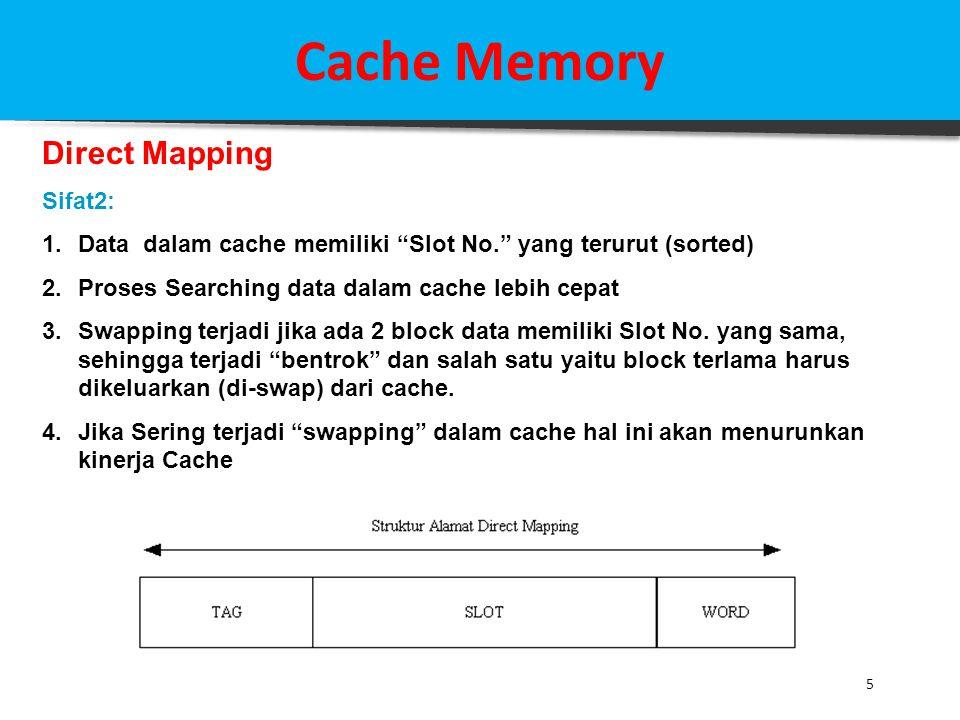 """5 Cache Memory Direct Mapping Sifat2: 1.Data dalam cache memiliki """"Slot No."""" yang terurut (sorted) 2.Proses Searching data dalam cache lebih cepat 3.S"""