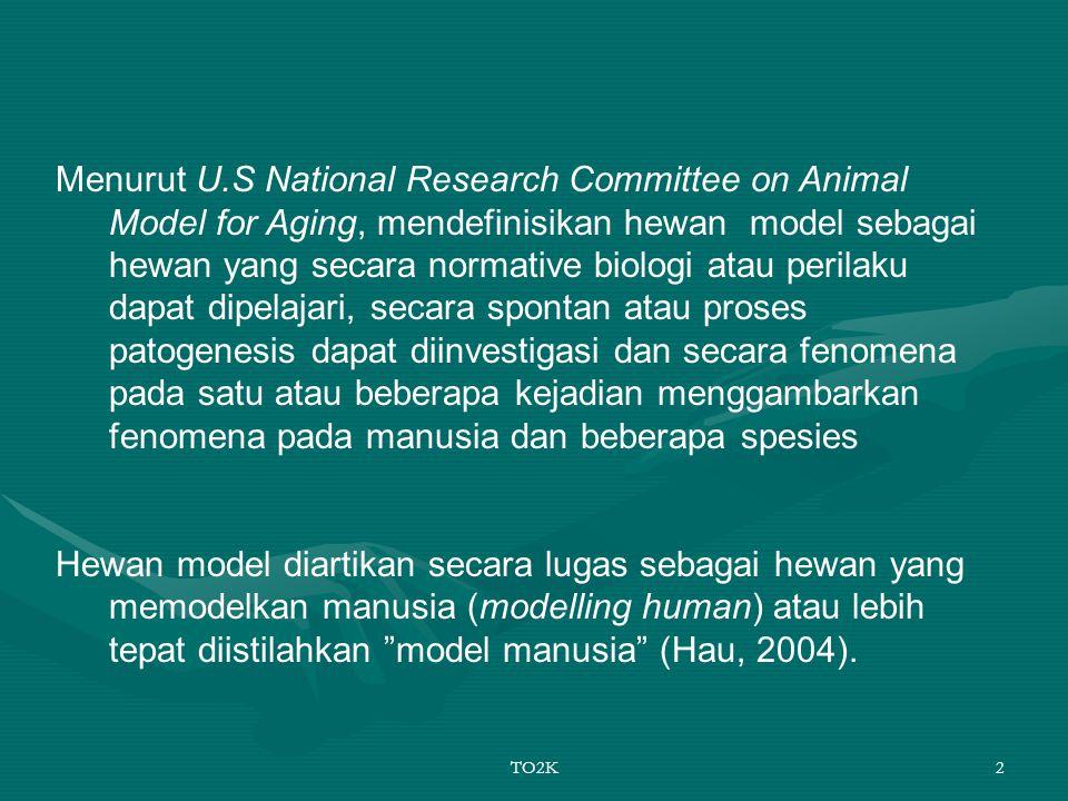 TO2K2 Menurut U.S National Research Committee on Animal Model for Aging, mendefinisikan hewan model sebagai hewan yang secara normative biologi atau p