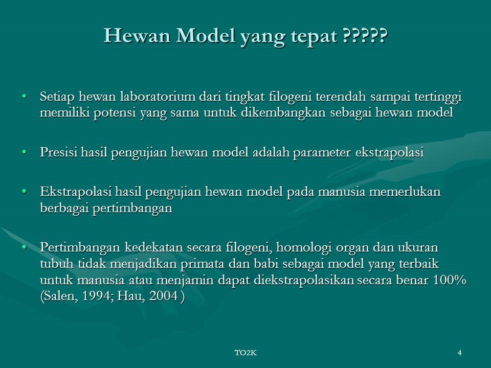 TO2K4 Hewan Model yang tepat ????? Setiap hewan laboratorium dari tingkat filogeni terendah sampai tertinggi memiliki potensi yang sama untuk dikemban