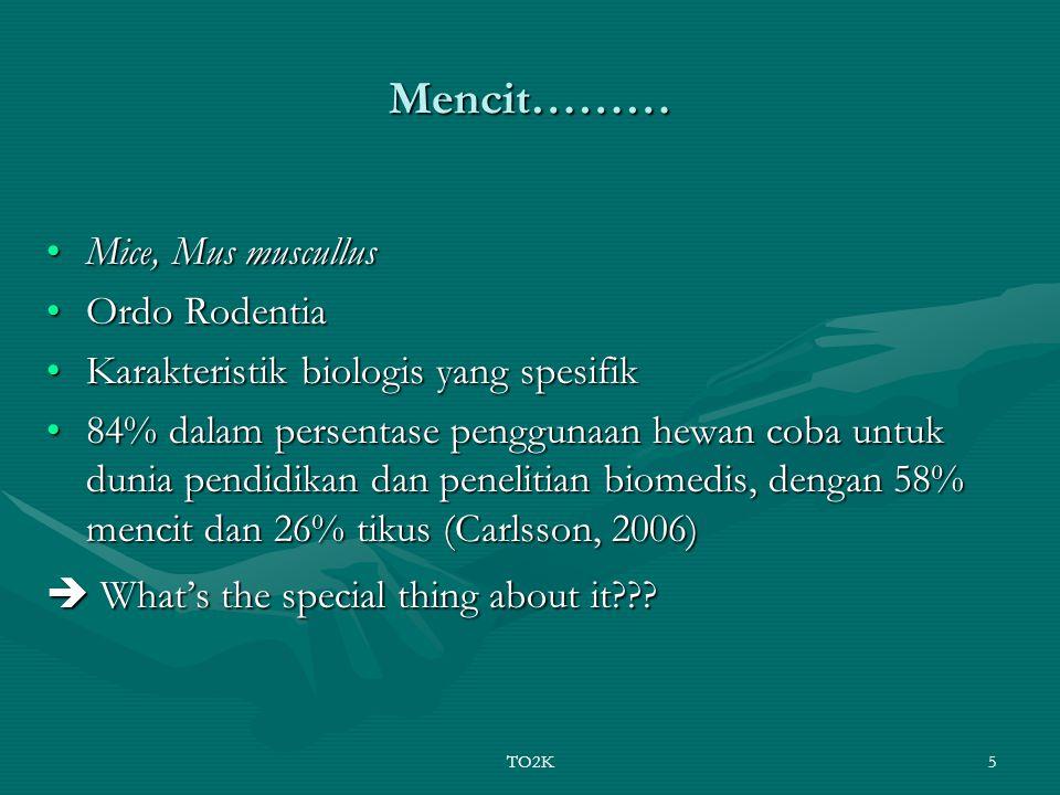 TO2K5 Mencit……… Mice, Mus muscullusMice, Mus muscullus Ordo RodentiaOrdo Rodentia Karakteristik biologis yang spesifikKarakteristik biologis yang spes
