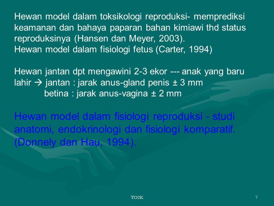 TO2K7 Hewan model dalam toksikologi reproduksi- memprediksi keamanan dan bahaya paparan bahan kimiawi thd status reproduksinya (Hansen dan Meyer, 2003