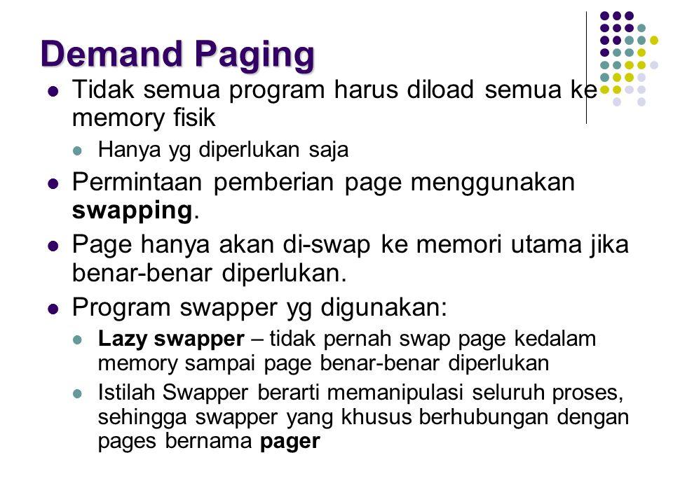 Demand Paging Tidak semua program harus diload semua ke memory fisik Hanya yg diperlukan saja Permintaan pemberian page menggunakan swapping. Page han