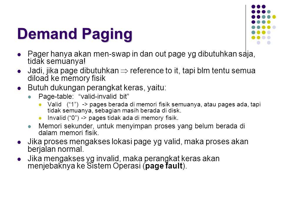 Demand Paging Pager hanya akan men-swap in dan out page yg dibutuhkan saja, tidak semuanya! Jadi, jika page dibutuhkan  reference to it, tapi blm ten