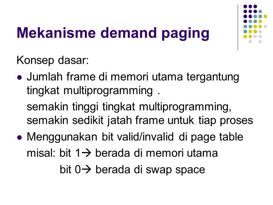 Mekanisme demand paging Konsep dasar: Jumlah frame di memori utama tergantung tingkat multiprogramming. semakin tinggi tingkat multiprogramming, semak