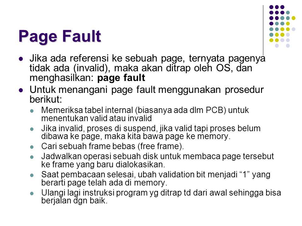 Page Fault Jika ada referensi ke sebuah page, ternyata pagenya tidak ada (invalid), maka akan ditrap oleh OS, dan menghasilkan: page fault Untuk menan