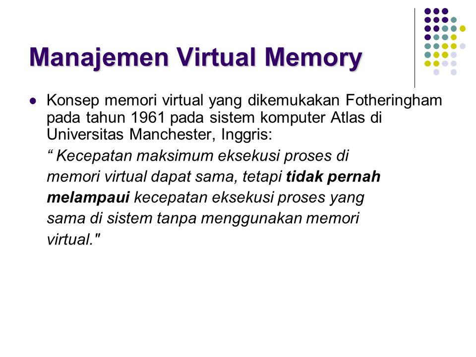 Manajemen Virtual Memory Konsep memori virtual yang dikemukakan Fotheringham pada tahun 1961 pada sistem komputer Atlas di Universitas Manchester, Ing