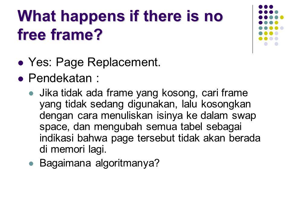 What happens if there is no free frame? Yes: Page Replacement. Pendekatan : Jika tidak ada frame yang kosong, cari frame yang tidak sedang digunakan,