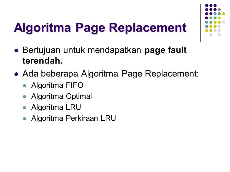 Algoritma Page Replacement Bertujuan untuk mendapatkan page fault terendah. Ada beberapa Algoritma Page Replacement: Algoritma FIFO Algoritma Optimal