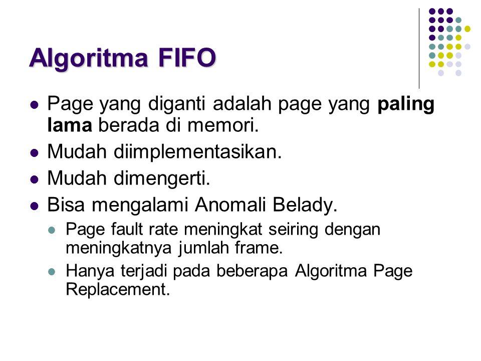 Algoritma FIFO Page yang diganti adalah page yang paling lama berada di memori. Mudah diimplementasikan. Mudah dimengerti. Bisa mengalami Anomali Bela