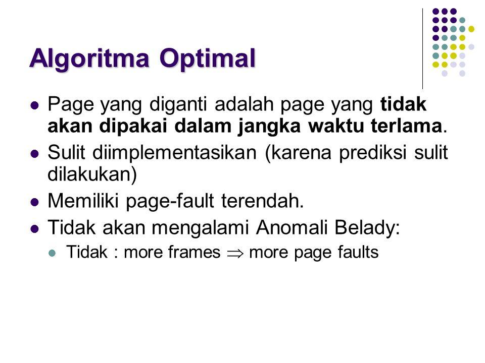 Algoritma Optimal Page yang diganti adalah page yang tidak akan dipakai dalam jangka waktu terlama. Sulit diimplementasikan (karena prediksi sulit dil