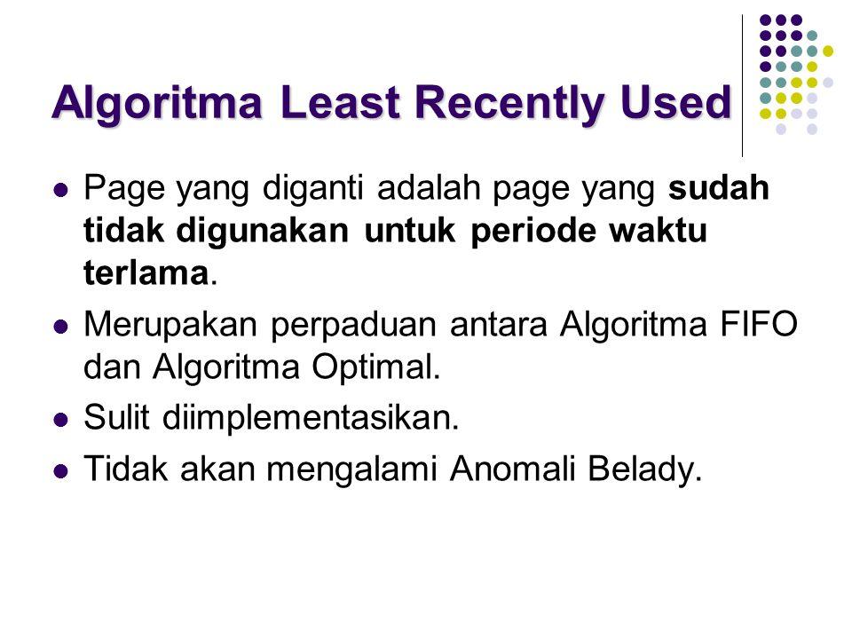 Algoritma Least Recently Used Page yang diganti adalah page yang sudah tidak digunakan untuk periode waktu terlama. Merupakan perpaduan antara Algorit