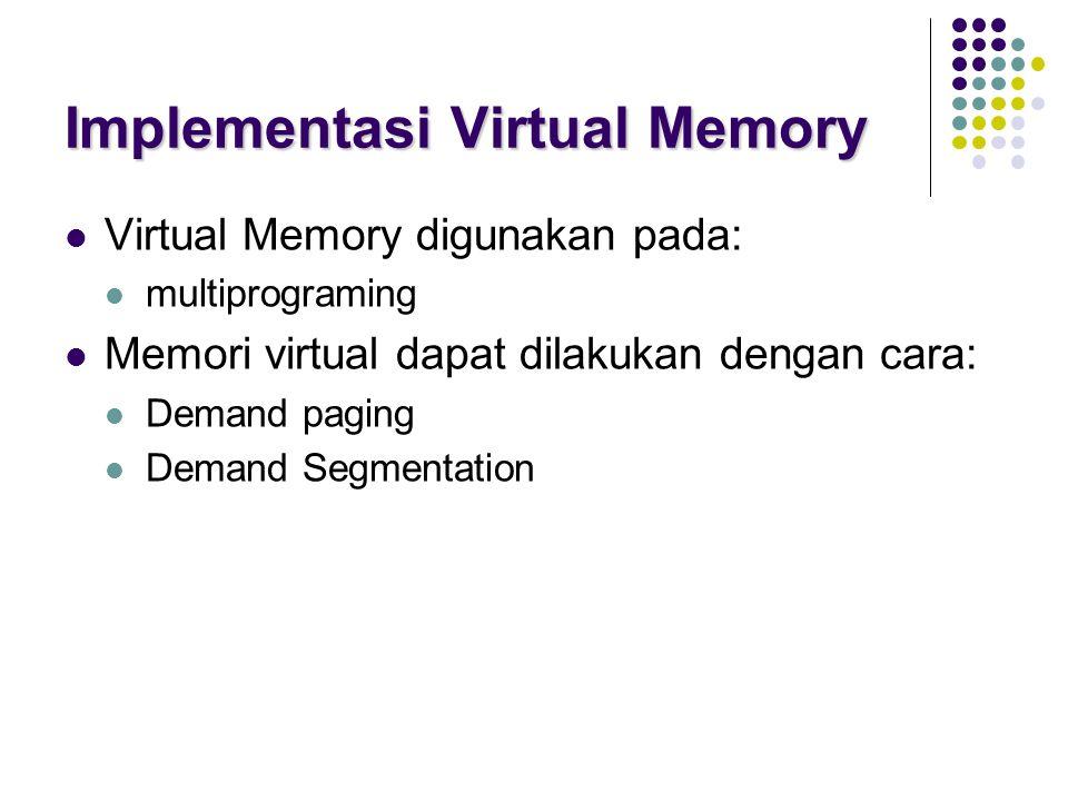 Implementasi Virtual Memory Virtual Memory digunakan pada: multiprograming Memori virtual dapat dilakukan dengan cara: Demand paging Demand Segmentati