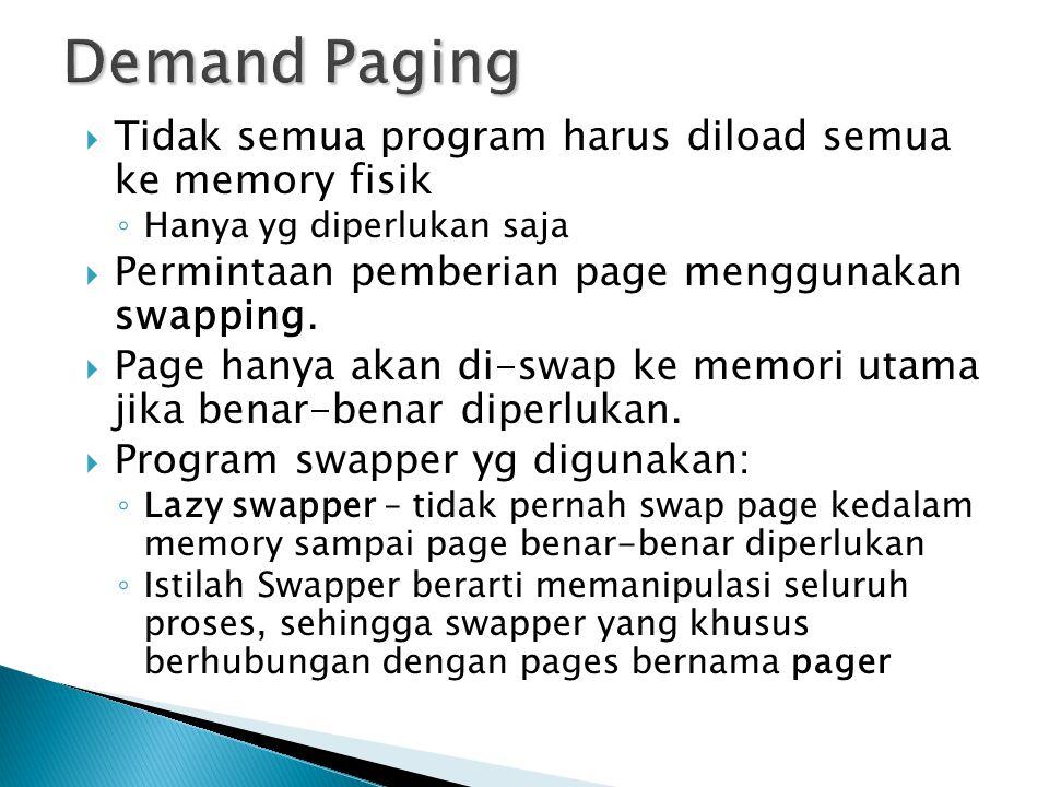  Tidak semua program harus diload semua ke memory fisik ◦ Hanya yg diperlukan saja  Permintaan pemberian page menggunakan swapping.  Page hanya aka