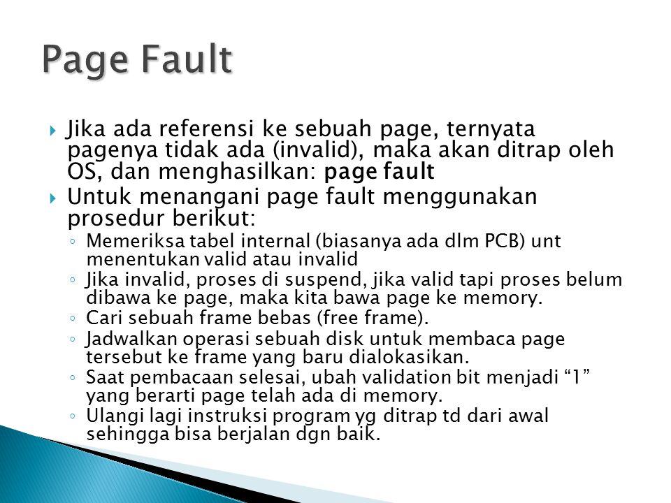  Jika ada referensi ke sebuah page, ternyata pagenya tidak ada (invalid), maka akan ditrap oleh OS, dan menghasilkan: page fault  Untuk menangani pa