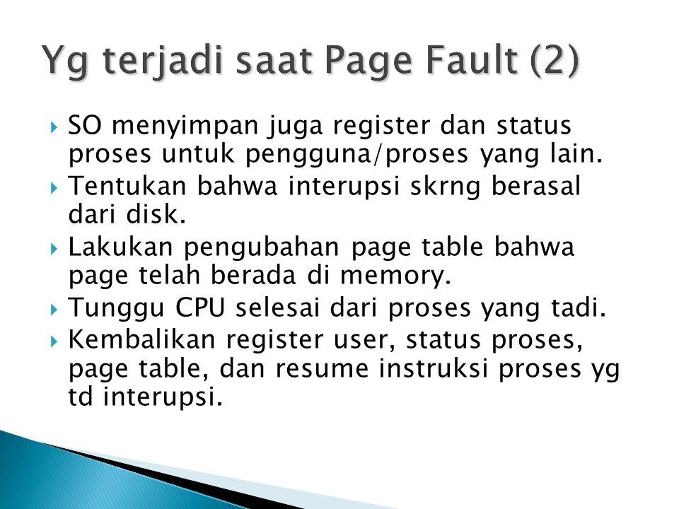  SO menyimpan juga register dan status proses untuk pengguna/proses yang lain.  Tentukan bahwa interupsi skrng berasal dari disk.  Lakukan pengubah