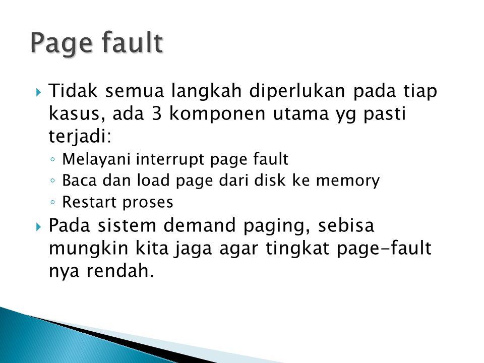  Tidak semua langkah diperlukan pada tiap kasus, ada 3 komponen utama yg pasti terjadi: ◦ Melayani interrupt page fault ◦ Baca dan load page dari dis