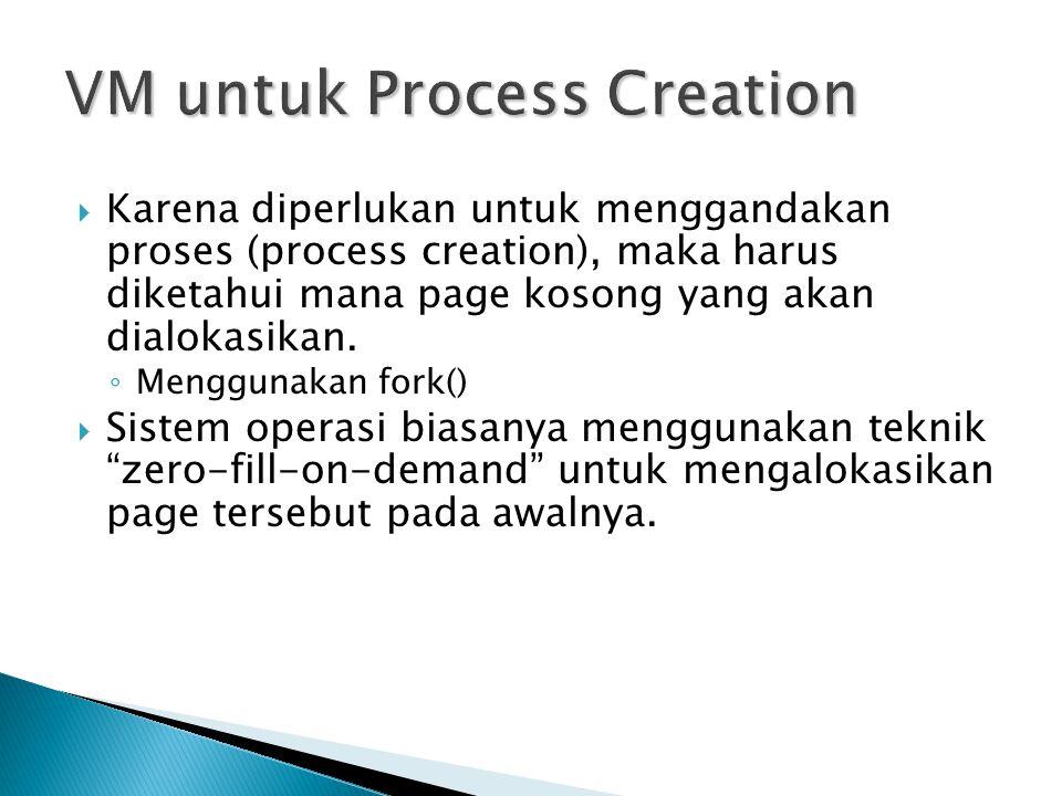  Karena diperlukan untuk menggandakan proses (process creation), maka harus diketahui mana page kosong yang akan dialokasikan. ◦ Menggunakan fork() 