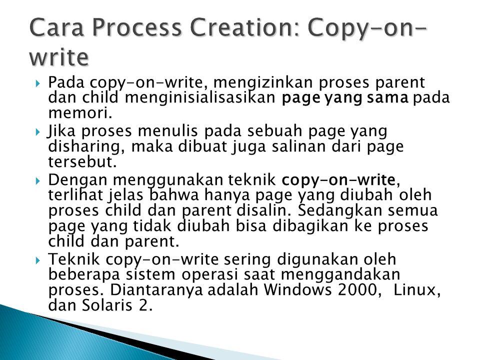  Pada copy-on-write, mengizinkan proses parent dan child menginisialisasikan page yang sama pada memori.  Jika proses menulis pada sebuah page yang
