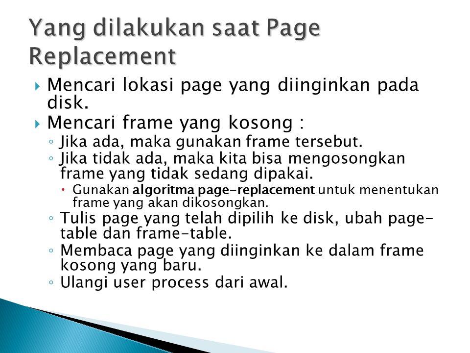  Mencari lokasi page yang diinginkan pada disk.  Mencari frame yang kosong : ◦ Jika ada, maka gunakan frame tersebut. ◦ Jika tidak ada, maka kita bi