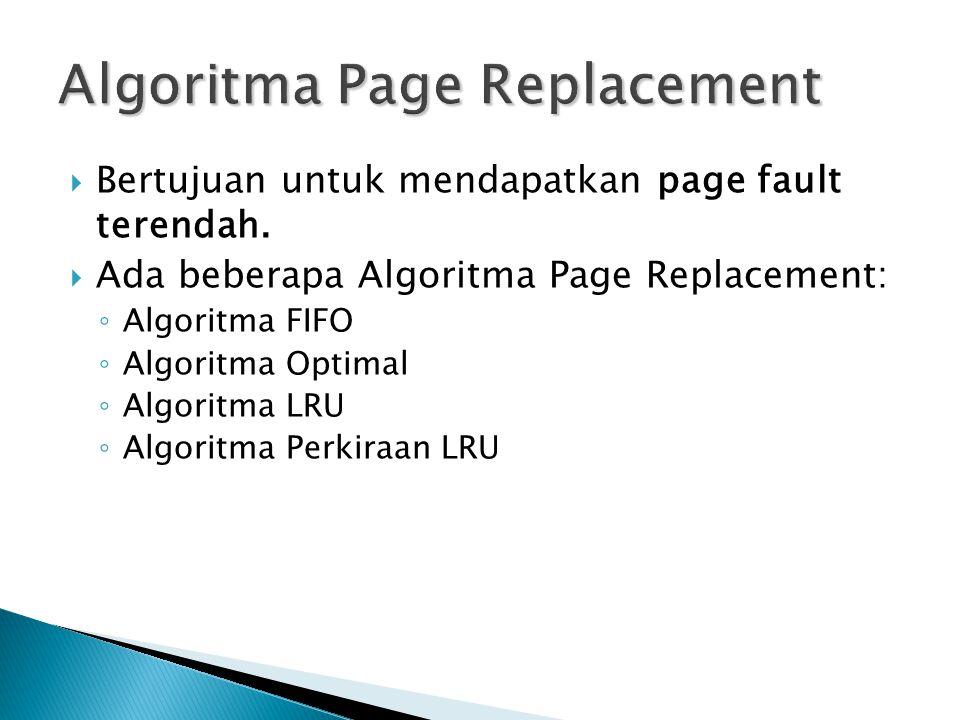  Bertujuan untuk mendapatkan page fault terendah.  Ada beberapa Algoritma Page Replacement: ◦ Algoritma FIFO ◦ Algoritma Optimal ◦ Algoritma LRU ◦ A