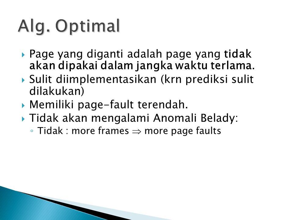  Page yang diganti adalah page yang tidak akan dipakai dalam jangka waktu terlama.  Sulit diimplementasikan (krn prediksi sulit dilakukan)  Memilik