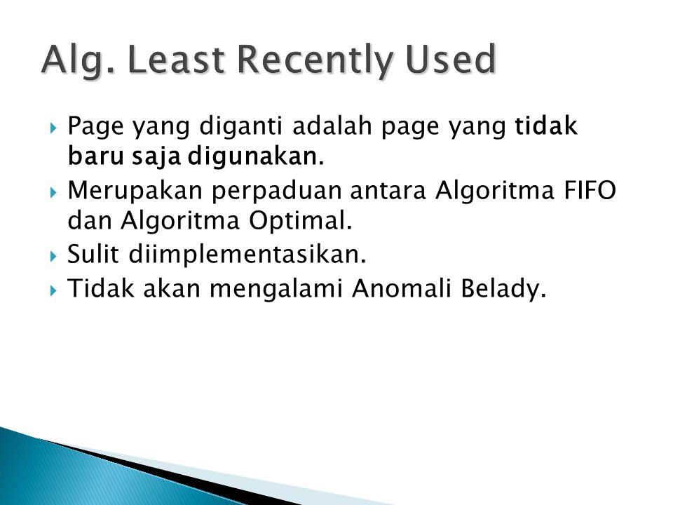  Page yang diganti adalah page yang tidak baru saja digunakan.  Merupakan perpaduan antara Algoritma FIFO dan Algoritma Optimal.  Sulit diimplement