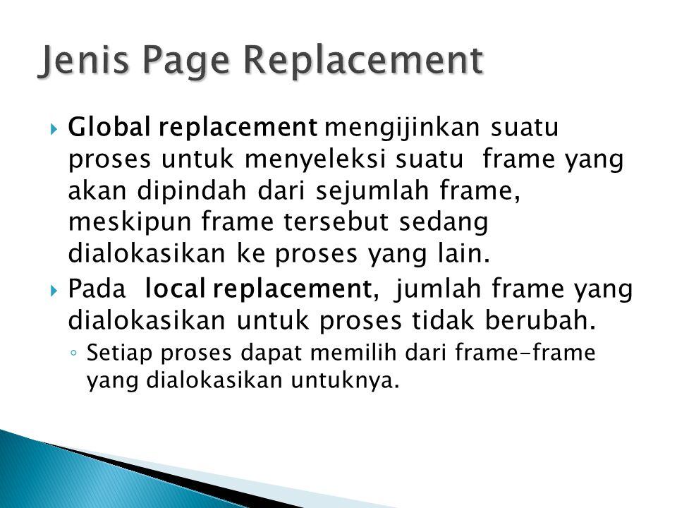  Global replacement mengijinkan suatu proses untuk menyeleksi suatu frame yang akan dipindah dari sejumlah frame, meskipun frame tersebut sedang dial