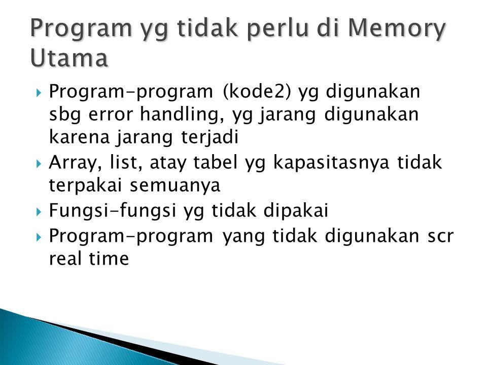  Page Tabel yg berisi valid dan invalid bit  Secondary Memory yg digunakan untuk menyimpan memory yg belum tertampung di main memory ◦ Dikenal dng nama: swap file (linux) atau pagefile.sys (win)