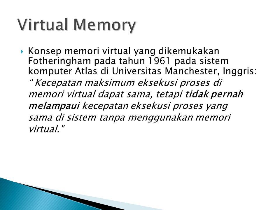 """ Konsep memori virtual yang dikemukakan Fotheringham pada tahun 1961 pada sistem komputer Atlas di Universitas Manchester, Inggris: """" Kecepatan maksi"""