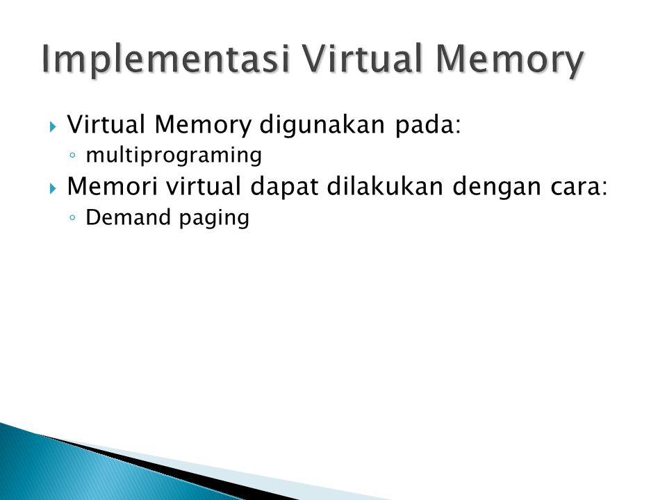  Virtual Memory digunakan pada: ◦ multiprograming  Memori virtual dapat dilakukan dengan cara: ◦ Demand paging
